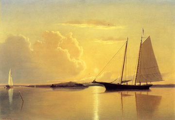 Schooner in Fairhaven Harbor, Sunrise Oil Painting by William Bradford